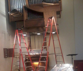 Experience in organ repair is valuable when the instrument needs a doctor. Organist Felipe Dominguez had to gut and reassemble this massive instrument at the First Presbyterian Church in Annandale, Virginia.